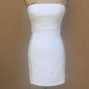 Sz 4 H & M White Summer Strapless Dress EUC